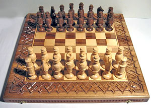 Hutsul chess: combination of nut and maple wood, joinery, turning and carving.