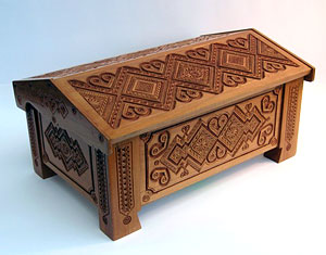 Hutsul case: pear wood, joinery, carving.