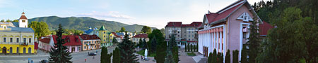 Carpathian mountains view from Kosiv central square